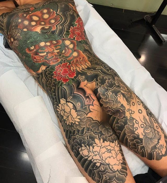 Todays work - Karajishi Back piece in progress by Damien
