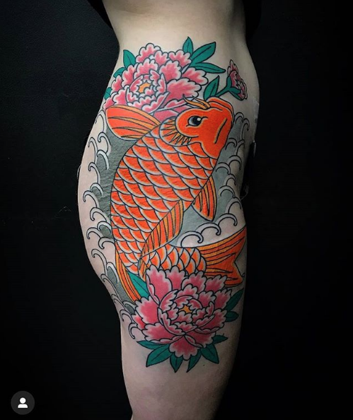 Todays work - Koi on hips by Ben