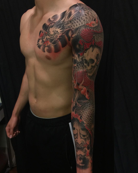 Todays work - Dragon and hannya sleeve by Ky