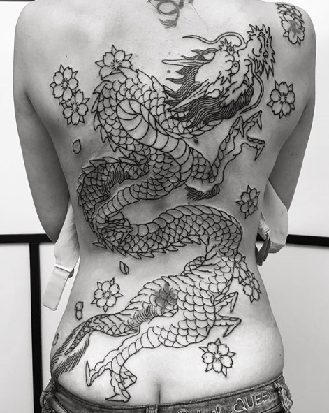 Todays work: Dragon on back in progress by Kanae