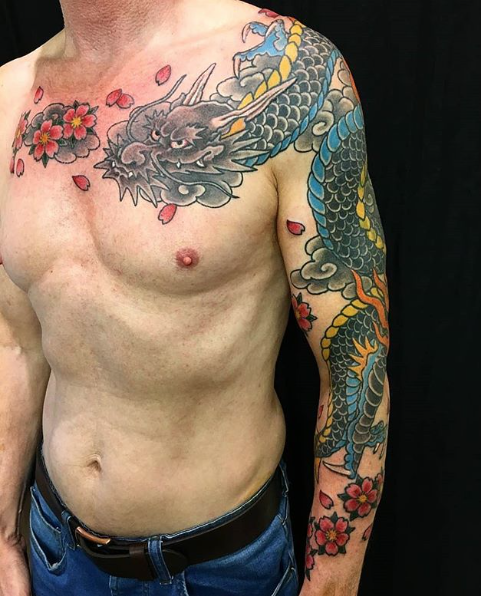 Todays work - Dragon cover up chest and arm by Kanae