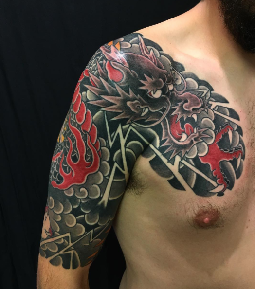 Todays work - Dragon half sleeve in progress by Kanae