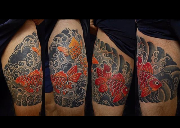 Todays work - Gold fish cover up by Ky