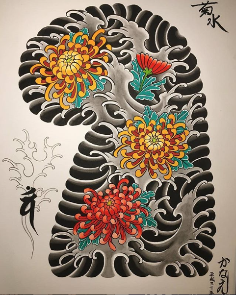 Todays work - Kiku/chrysanthemums sleeve painting by Kanae