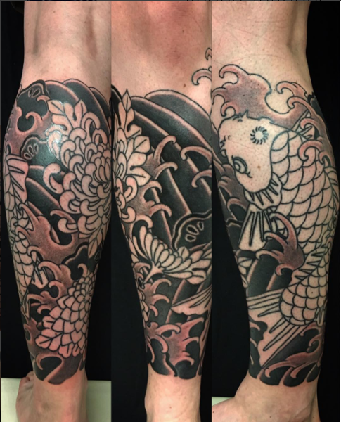 Todays work - Koi and kiku on leg in progress by Kanae