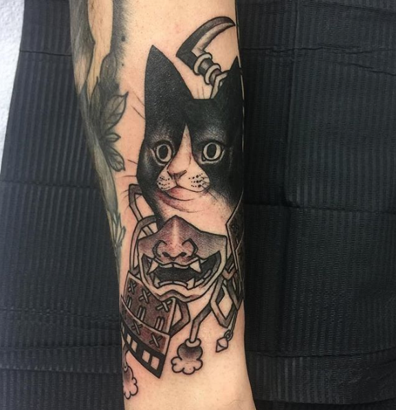 Todays work - Cat and samurai mask by Ky