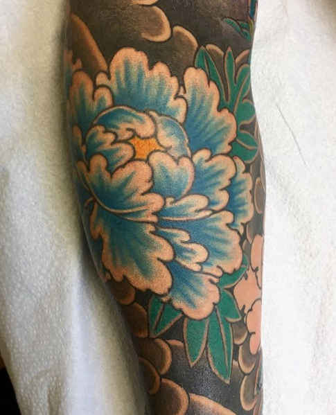 Todays work: Close up on peony (Tomoe Gozen sleeve) by Kanae