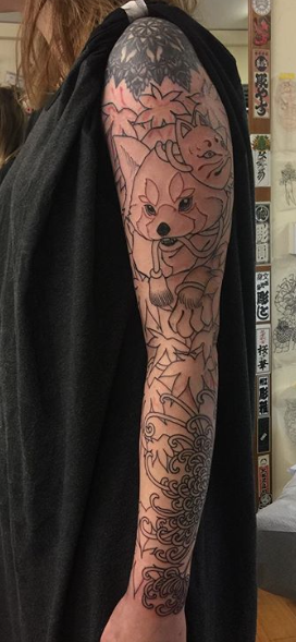 Todays work - Red panda autumn sleeve in progress by Ky