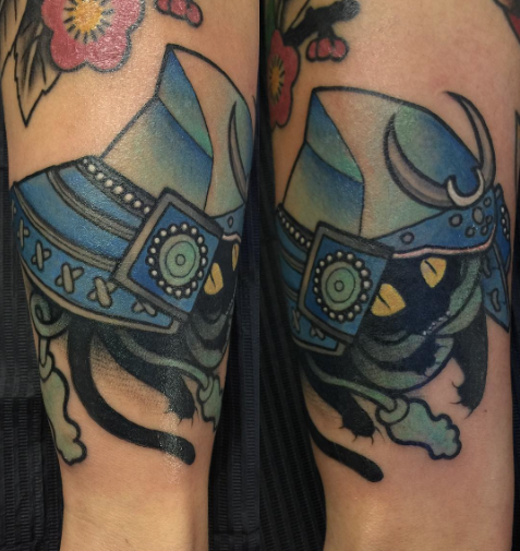 Todays work - Cat and samurai helmet by Ky