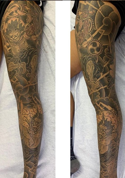 Todays work - Raijin and Fujin leg sleeve by Ky