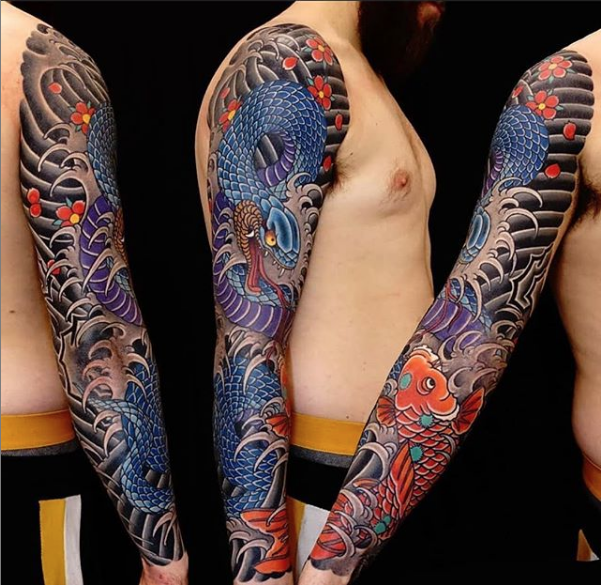 todays work - Snake and koi sleeve by Damien
