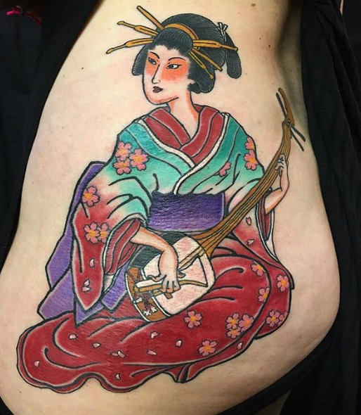 Todays work - Woman playing the shamisen by Kanae
