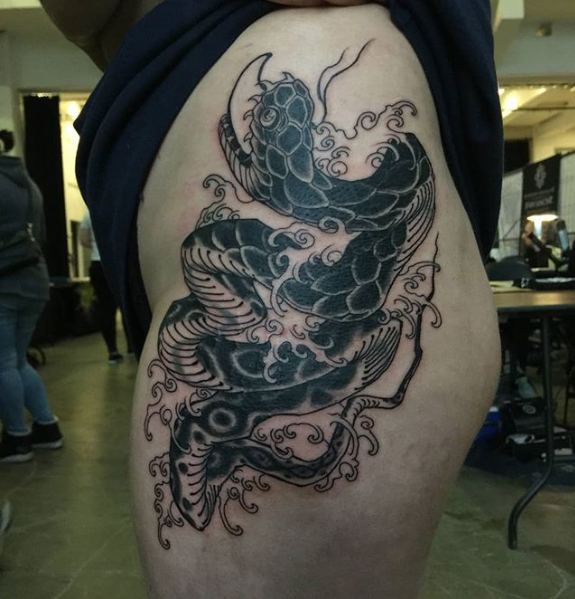 Todays work - Snake and waves by Ky