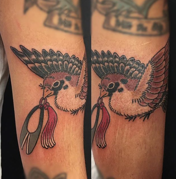 Guesting at Invisible NYC - Sparrow on arm by Kanae