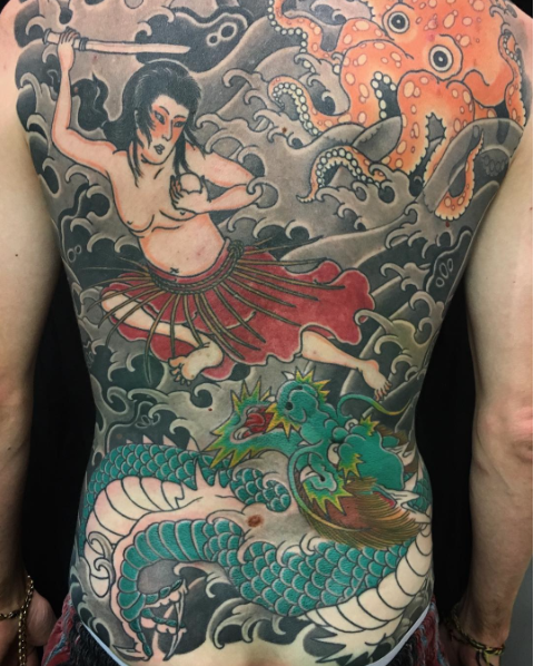 Todays work - Tamatori hime back piece in progress by Kanae