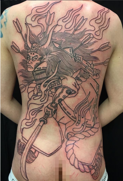 Todays work - Tomomori back piece in progress by Kanae