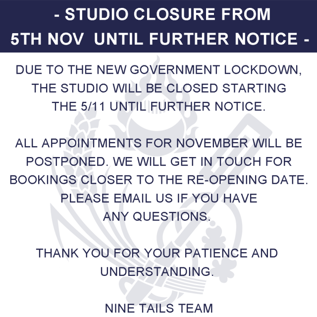Studio closure from 5th of November 2020 until further notice