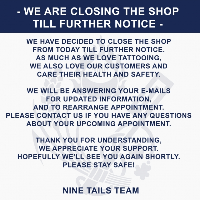 Shop closed until further notice