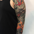 London tattoo convention - Dragon sleeve in progress by Kanae