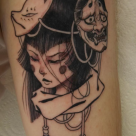 todays work - Girl with masks by Ky