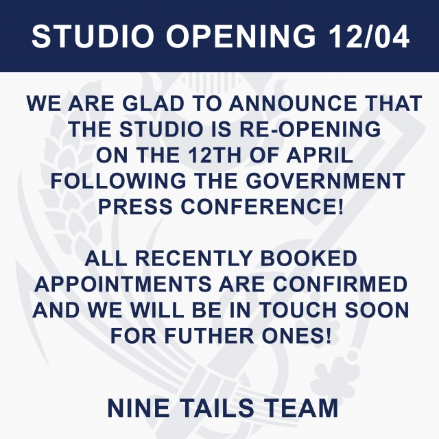 Studio Re-opening: 12th of April