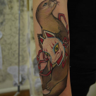 Todays work - Otter and kitsune mask by Ky