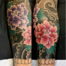 Todays work - Peonies on calf , part of leg sleeve by Kanae