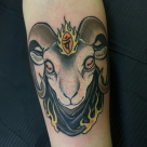 Todays work - Ram on forearm by Ky