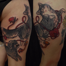 Todays work - Dog and Cat on thigh by Ky