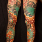 Todays work - Foo dog leg sleeve in progress by Kanae