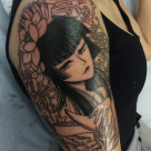 Todays work - Manga half sleeve in progress by Ky