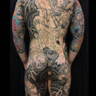 Todays work - Shoki back piece on progress by Kanae (Background complete)