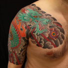 todays work - Dragon half sleeve and chest by Kanae