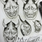 TODAY'S WORK BY KY - Few hannya mask studies by, all available to tattoo!