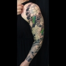 TODAY'S WORK BY KANAE - CONTINUATION OF GOLDFISH SLEEVE - COLOUR STARTED