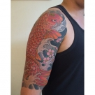 Today's work by Kanae - Koi and cherry blossom half sleeve, finished!