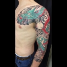 Today's work by Kanae - 3/4 dragon sleeve and chest in progress