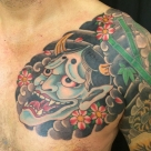 TODAY'S WORK BY KANAE - Done! Hanya and cherry blossom chest plate added to existing tattoo
